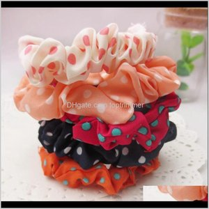 & Tools Products Drop Delivery 2021 Ponytail Holder Polka Dot Striped Chiffon Fabric Rope Scrunchy Headband Accessories Basic Hair Band Loop