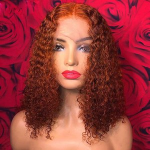 high qualitySoft 13x4 Front Wig Human Wigs Pre-Plucked Orange Color Brazilian Virgin Hair Long Curly Lace Wigone
