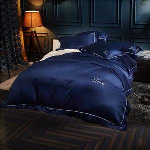 4Pieces Cotton Imitate Silk Blue Silver White Queen King Size Bedding Sets Fit Sheet Duvet Cover Bed Sheet linen Set Pillowcase