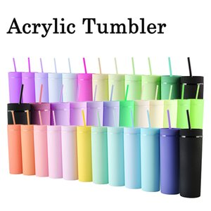 16oz Slim Tumbler Matte Acrylic Skinny Tumblers Pastel Colored Double Wall Plastic Reusable Cup DIY Gifts