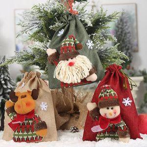 Рождественские подарка украшения Драйвша сумка льняная сумка конфеты мультфильм Санта-Клаус снеговик лось рождественские подарочные сумки сумка Xmas Apple Bags DBC VT1028 GYQ