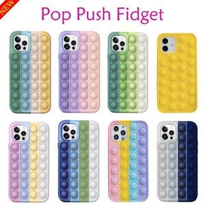 Pop Push Fidget Bubble Case For iPhone 6 7 8 Plus XS XR 11 12 Pro Max SE 2020 Silicone Cover Reliver Stress Push It Phone Cases