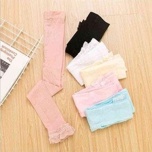 Girls Leggings Baby Lace Tights Candy Color Hollow Out Stretch Pants Kids Breathable Thin Pantyhose Mid Waist Warm Fashion Pants PY547
