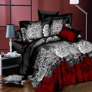 3d leopard duvet cover sheet queen twin size bed linen set