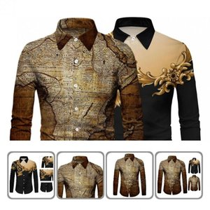 Men's Dress Shirts Contrast Colors Great Turn-Down Collar Male Top Single-breasted Digital Printing For Business