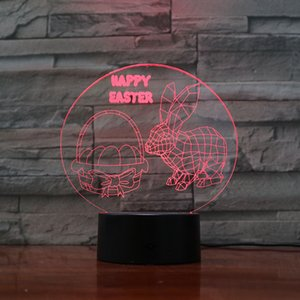 Led illusion Night Light happy easter 3D creative Nightlight with sensor Gift Lamp for bar and hotel