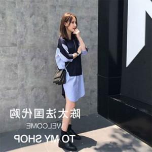 Chen Casual Dresses Tai French maje shirt skirt women's medium length 3   4 sleeve irregular dress for summer