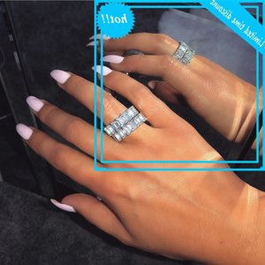 Emerald Cut Lab Diamond Cz Ring 100% Original 925 Sterling Silver Engagement Wedding Band Rings For Women Bride Game Jewelry