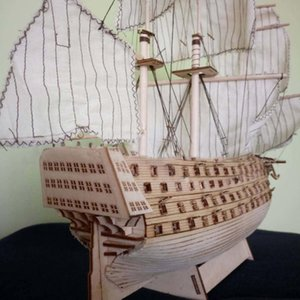 Hobbylane DIY Wood Assembled Victory Royal Navy Ship Sailboat Modeling Toy Decoration Y200428