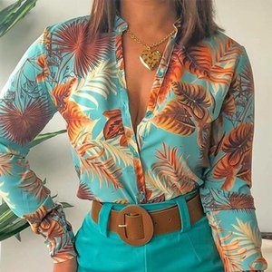 Women's Blouses & Shirts Floral Printed Women Chiffon Boho Blouse Ladies Fall V-neck Long Sleeve Spring Autumn Sexy Plus Size Top Blusas Fem