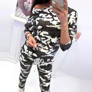 Piece Set Women Clothes 2021 Two Camouflage Tracksuits Lounge Wear Ladies Top Suit Pant Plus Size Women's