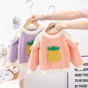 Pullover Autumn Winter Children Kids Long Sleeve O Neck Ruffles Pineapple Print Knitwear Girls Casual Sweater