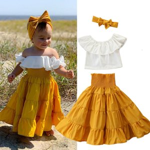 Clothing Sets 3Pcs Set Baby Girls Suit Summer Toddler Girl Clothes Off Shoulder Ruffle Tops+Long Flare Skirts Kids Outfits D30 0930
