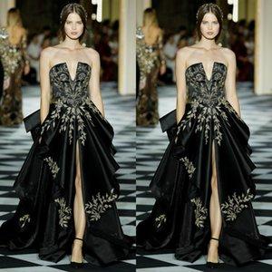 Zuhair Murad Black Prom Dresses Evening Gowns Strapless Ruched High Split Formal Cocktail Party Dress Gold Appliqued robes de soirée