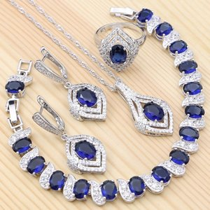 925 Sterling Silver Bridal Jewelry for Women Party Blue Cubic Zirconia Ring Bracelet Necklace Pendant Earrings Set