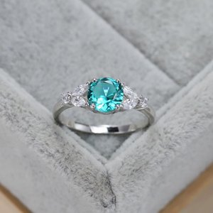 Cluster Rings S925 Sterling Silver Ring Luxury Round Emerald Diamond European And American Simple Design Wedding