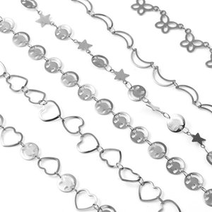 Anklets 1 PC Fashion Concise Anklet For Women Stainless Steel Silver Color Heart Moon Chains Foot Jewelry Bracelet Gift Wholesale