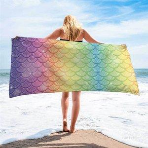 Fashionable outdoor swimming bath towel Mermaid Beach Towel creative printing sunscreen shawl quick drying towels 70*35CM T500673