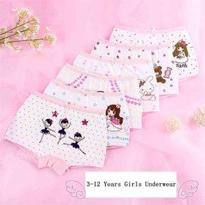 Good Quality Girls Underwear Boxer Cotton Kids Cartoon Snail print Panties Children Princess Baby Underpants 4pcs lot 210622