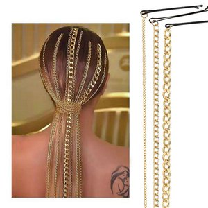 2020 Fashion Simple Hair Chain Jewelry Clips Gold Color Hair Accessories For Women Wedding Bridal Hairband