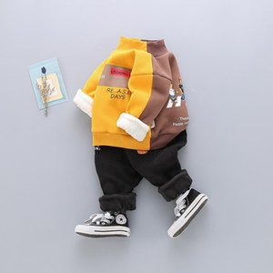 Clothing Sets Winter Baby Boys Jackets Thick Warm Children Letter Spring Kids Girl Plus Cashmere Two Piece Teenager Clothes Outwear Sweater