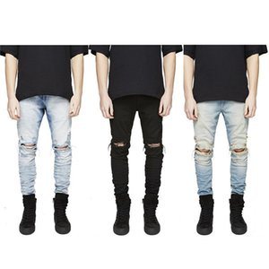 في المخزون يتأهل جينز جينز الرجال مرحبا الشارع رجل الدنيم المتعثرة ركض الركبة ثقوب غسلها دمرت زائد الحجم