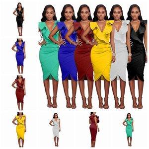 2020 European fashion sexy V collar lotus leaf sleeveless Slim tight bag hip high waist dress S, M, L, XL support mixed batch