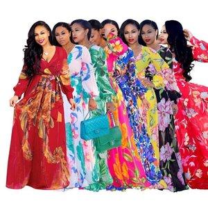 Floral Printed Maxi 11 Styles Women Deep V Neck Long Sleeve Chiffon Summer Beach Floor Length Dress OOA6902