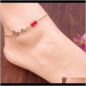 Ankletes Ювелирные Изделия Drop Доставка 2021 Любовь Тип Красный Бисер Сиер или Золотой Цвет Металлическая Цепь Для Женщин Ноги Мода Анклаты K3BDE