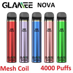 Original Glamee Nova Disposable Pod 4000Puffs Mesh Coil Vape Pen Device 12ml 2200mAh Vapor Stick Bar 20 Colors