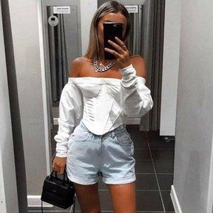 Women's Blouses & Shirts Fashion Women Off Shoulder High Street White Crop Tops Long Sleeve Blouse Slash Neck Jumper Top