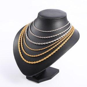 Hüftseil Kettenbreite 3mm / 4mm / 5mm Gold 316L Edelstahl Halskette Männer Verdrehte Halsketten Schmuck 20-30 Zoll Länge