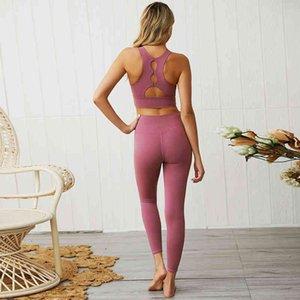 Женский спортивный костюм женский бесшовный костюм Fitness Sportswear для женщин тренажерный зал работает 2 часа спортивный спортивный бюстгальтер Yoga с отверстием + набор набор