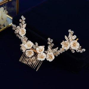 Handmade Sun Flower Brides Barrettes Hairbands With Earring Crystal Bridal Hairpin Headbands Wedding Hair Accessory Clips &
