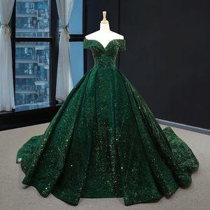 Luxury Sequinwedding Boat Dress Neck Bling Baldress Classic Party Gridal Gown Vestido De Noiva
