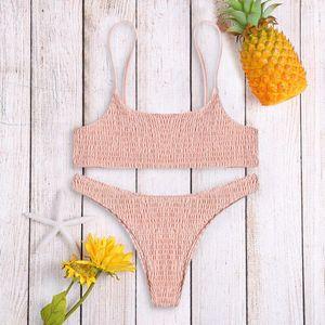 Women's Swimwear Sexy Pleated Bikini Women Swimsuit Set Beachwear Bathing Suit