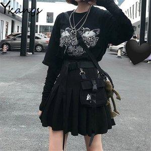 Готический панк высотой талии старинные плиссированные юбки Новые повседневные моды женщины карманный летний хип-хоп Harajuku a-line грузовые простые юбки 210412