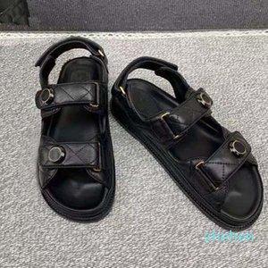 Дизайнер 2021 роскошные женские сандалии Crystal Calf Кожаная классическая стеганая платформа мода повседневная обувь размер
