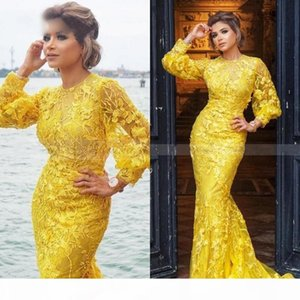 2020 Yellow Mermaid Prom Dresses Full Lace Long Sleeves Elegant Muslim Evening Gowns Plus Size Special Occasion dress