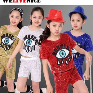 Girls Sequined Big Eye Ballroom Modern Jazz Hip Hop Dance Costumes Set for Kid T Shirt Tops Shorts Dancing Clothing Clothes Wear