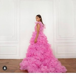 Party Dresses 2021 Princess Prom Gowns High Low Tiered Evening Night Puff Tulle Robe Long Tutu Skirt Po Shoot Dress EV95