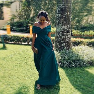 Emerald Green African Bridesmaid Dresses Long 2021 Sexy Off Shoulder Black Girls Wedding Guest Dress Chic Split Vestido de festa