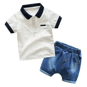 Baby Clothing Sets Boy Suit Boys Outfits Kids Clothes Summer Cotton Short Sleeve Shirts Jeans Shorts Pants 2Pcs 1-6Y B4940