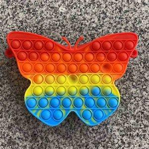 Halloween Cartoon Push Poppers Children's Rainbow Ccute Shoulder Bag Fidget Poo-its Kids Tie Dye Messenger Bags Silicone Press Corssbody Pack G961NGJ
