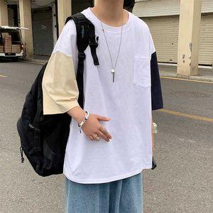 Мужские летние Harajuku Patchwork T Футболки мужские корейский Fashios негабаритная футболка мужская свободная уличная одежда Tees Half WLEEVE_CHAIN