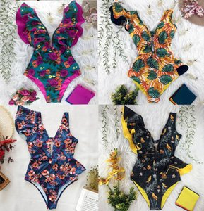 أحدث مثير كشكش طباعة الأزهار قطعة واحدة ملابس السباحة قبالة الكتف ملابس النساء الصلبة عميق الخامس بحر الاستحمام البدلة monkini