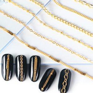 Perfektion6pc Mischt Metallketten Strassketten Nail Art Dekoration Gold Silber Perlen Linie für Tipps DIY Maniküre Zubehör TRFB01-04