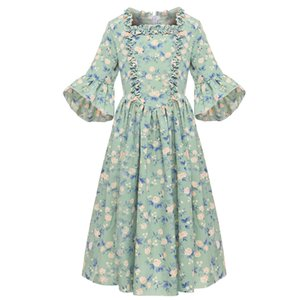 American Pioneer Girl Child Costume 6Y-14Y Kids Old Time Cute Colonial Village Teenager Floral Princess Dress