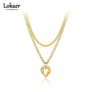 Chains Lokaer Trendy Goth Stainless Steel Double-layer Heart Charm Choker Necklaces Snake Chain Beach Pendant Jewelry For Women N21157