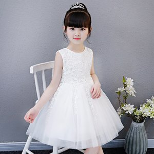 HOT White Big Bow Girls Dresses For Tulle Lace Infant Toddler Pageant Flower Girl Dress for Wedding and Birthday Special Offer 738 V2